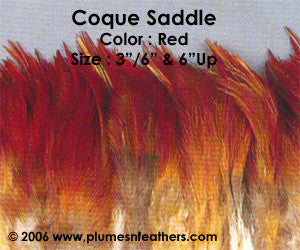 "Natural Strung Red Brown Saddle Feathers +4"" ½ Oz."