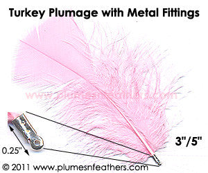"Turkey Plumage Feathers Dyed 3""/5"" w/ Metal Fitting 10Pc. Pack"