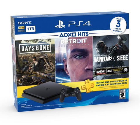 PlayStation 4 Slim 1TB BLACK Console Hits Bundle 5 - Days Gone, Detroit Become Human, Tom Clancy s Rainbow Six Siege Deluxe Edition y 3 Meses de PS Plus