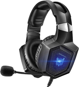 ONIKUMA Gaming Headset Stereo PS4 Headset with Flexible 360°Mic Surround Sound Over-Ear Xbox one Headset with Noise Cancelling Gaming Headphone LED Lights Volume Mute Control for Phones Laptop PC