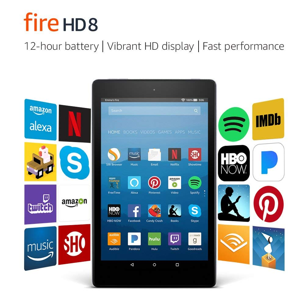 "Fire HD 8 Tablet with Alexa, 8"" HD Display, 16 GB, Black"