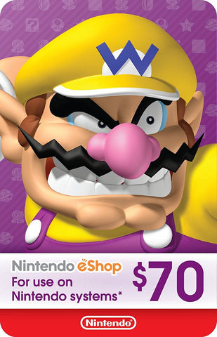 eCash - Nintendo eShop Gift Card $70 - Switch / Wii U / 3DS [Digital Code]