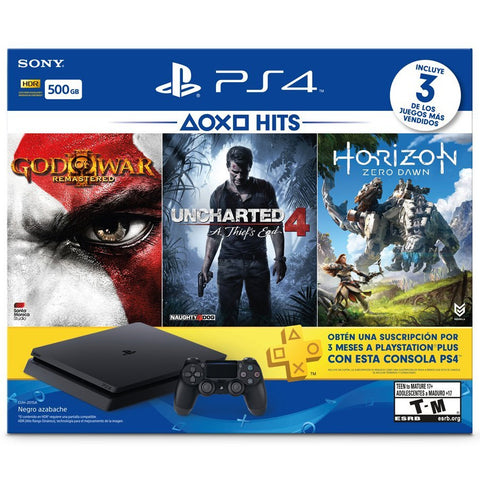 PlayStation 4 Slim 500GB BLACK Console Bundle - Horizon Zero Dawn, Uncharted 4, God Of War III y 3 Months PS Plus - Hits Bundle 2