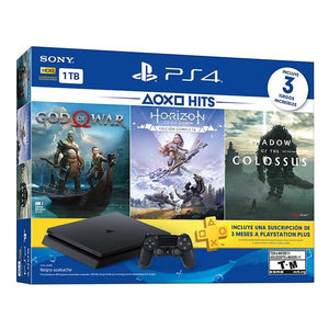 PlayStation 4 Slim 1TB BLACK Console Hits Bundle 4 - Shadow of the Colossus, Horizon Zero Dawn Complete, God Of War y 3 Meses de PS Plus