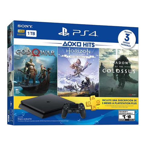 PlayStation 4 Slim 1TB BLACK Console Hits Bundle 4 - Shadow of the Colossus, Horizon Zero Dawn Complete, God Of War y 3 Meses de PS Plus + TSHIRT BY @ALEXTILOLIBRE + LLAVERO DE ELECCIÓN