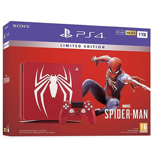 PlayStation 4 Slim 1TB Console - Spiderman Bundle - Red + Tshirt + Llavero