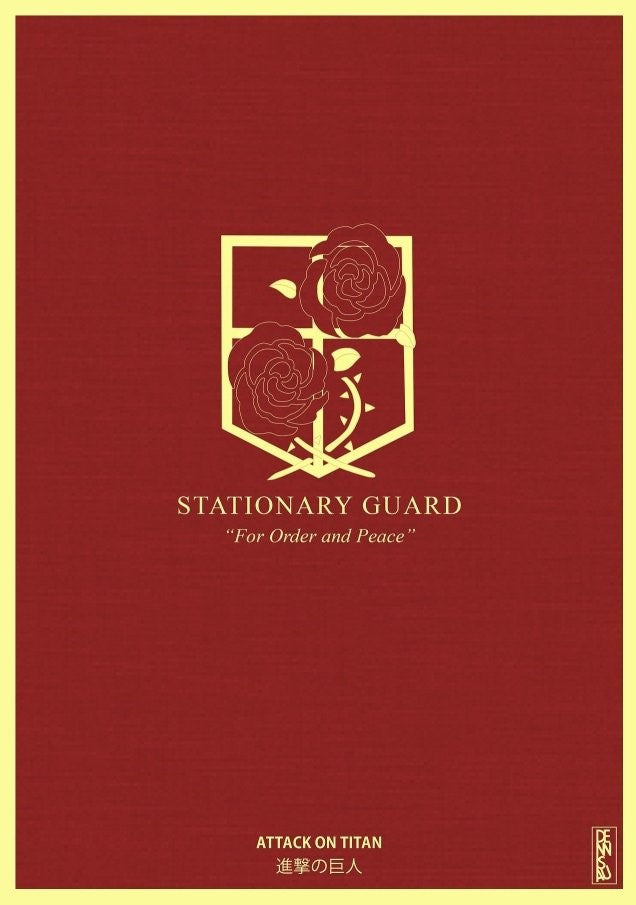Poster Enmarcado - Attack On Titan Stationary Guard - Papel Vinil - 8.5x11cm