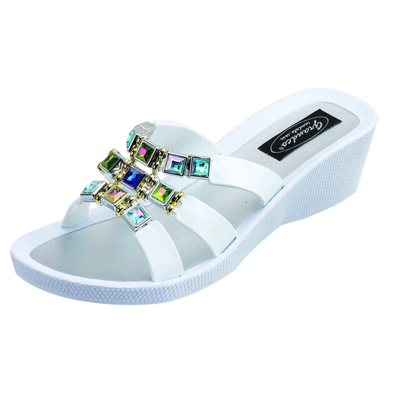 Grandco Topaz Wedge Slide - White - Captain Woody's Beach Club