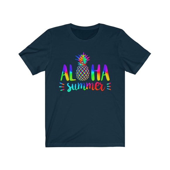 Aloha Summer Unisex Short Sleeve Hawaii Beach T-shirt, 7 colors available - Captain Woody's Locker