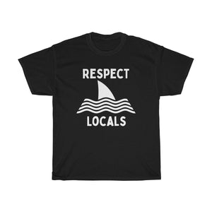 Respect Locals Shark Fin Unisex Short Sleeve Surf T-Shirt - Captain Woody's Beach Club