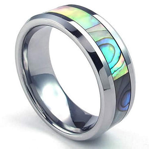 Abalone Tungsten Ring, 8mm Surf and Beach Ring - Captain Woody's Locker
