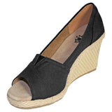 DAWGS Women's Kaymann 3-Inch Open Toe Wedges- Black - Captain Woody's Locker