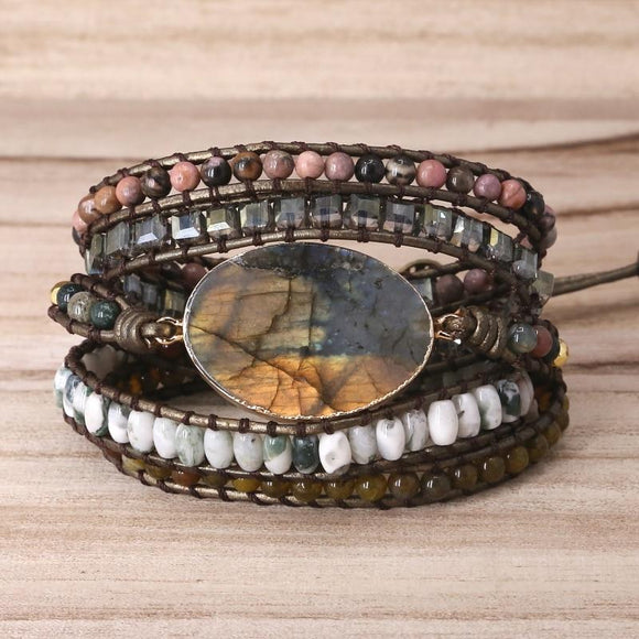 Labradorite Vintage Leather wrap bracelet - Captain Woody's Locker