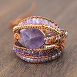 Natural Amethyst Quartz 5 Strand Wrap Bracelets - Captain Woody's Locker