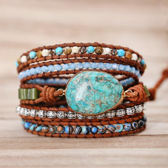 Women's Boho Natural Stone and Leather Wrap Bracelet - Captain Woody's Locker