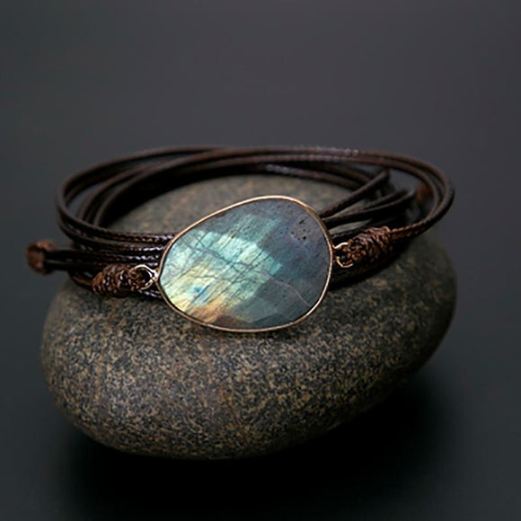 Labradorite Natural Stone Boho Friendship Bracelet - Captain Woody's Locker