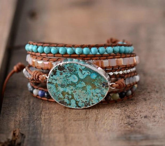 Natural Ocean Jasper Leather Wrap Bracelet - Captain Woody's Beach Club