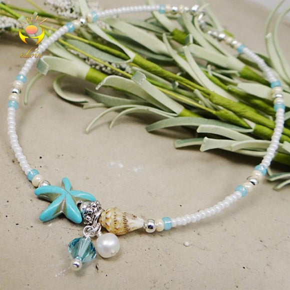 Starfish and Shell rice bead ankle bracelet - Captain Woody's Locker
