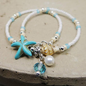 Starfish and Shell rice bead ankle bracelet - Captain Woody's Beach Club