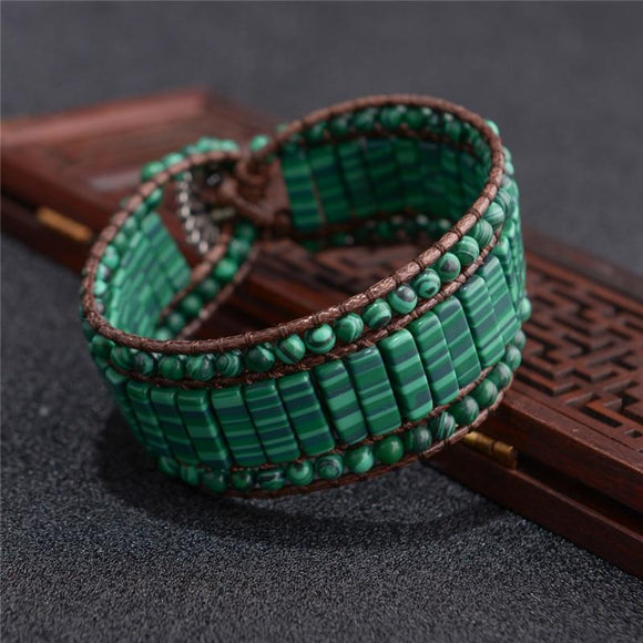 Handmade Malachite and Leather  Bracelet - Captain Woody's Beach Club