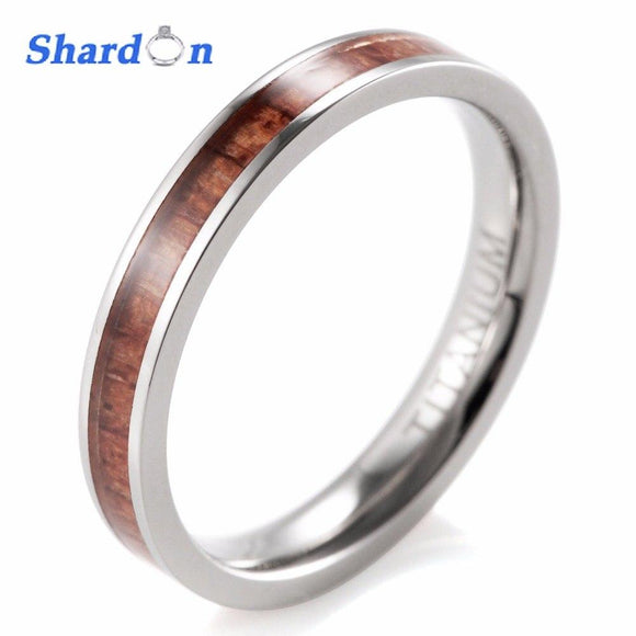 SHARDON Women's band Wedding Ring Titanium with real tree inlay Anniversay Wedding Band anel anillos Engagement Ring for Women - Captain Woody's Locker