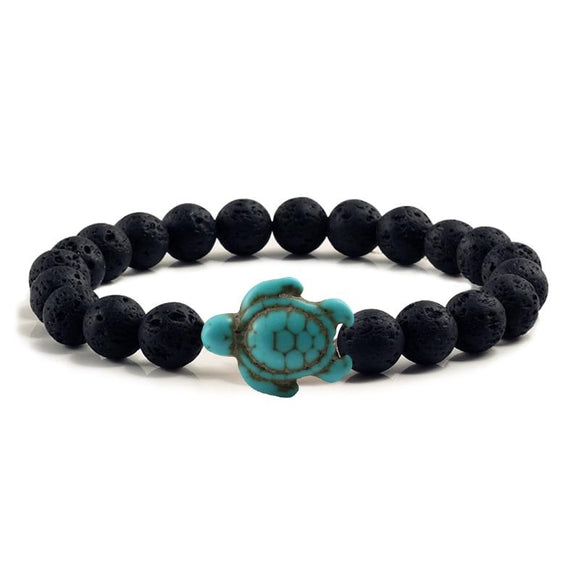 Handmade Beach Sea Turtle Lava Stone Bracelet - Captain Woody's Beach Club