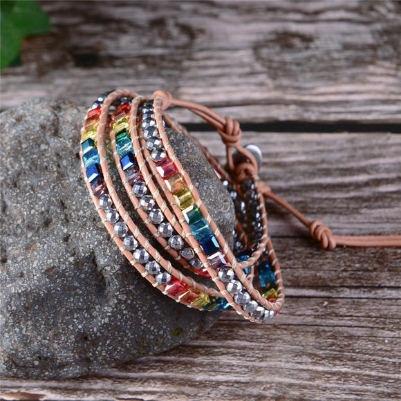 Handmade Boho crystal bead and leather wrap bracelet - Captain Woody's Beach Club