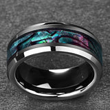 Tungsten Abalone Inlaid beveled ring - Captain Woody's Beach Club