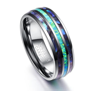 Abalone Shell  and Opal Inlay Tungsten Steel Rings for Men - Captain Woody's Beach Club