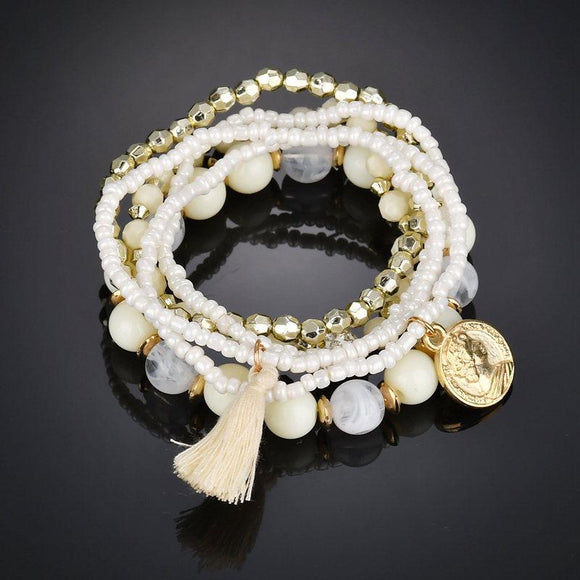 Boho Natural Stone Strand Bracelet - Captain Woody's Beach Club