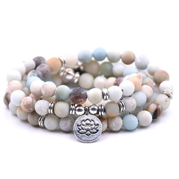 Boho Style Multilayer 8mm 108pcs Natural Stone Bead Strand with Lotus Bracelet Jewelry / 18 Stone options - Captain Woody's Beach Club