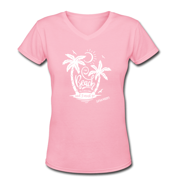 The Beach is Calling - Women's Beach Shirt - V-Neck, 6 color options - Captain Woody's Locker