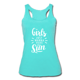 Girls Just Wanna Have Sun Women's Tri-Blend Racerback Tank - Captain Woody's Locker