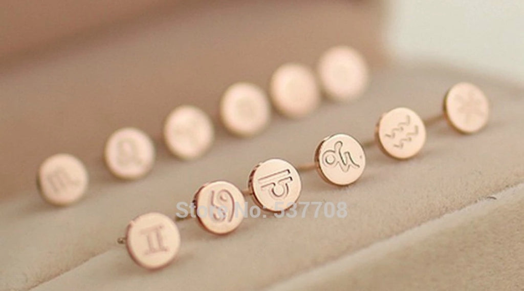 Aquarius Zodiac Sign 14k Rose Gold Plated Earring Women