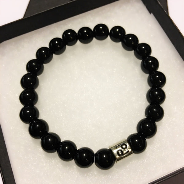 Cancer Bracelet Black Obsidian Bead