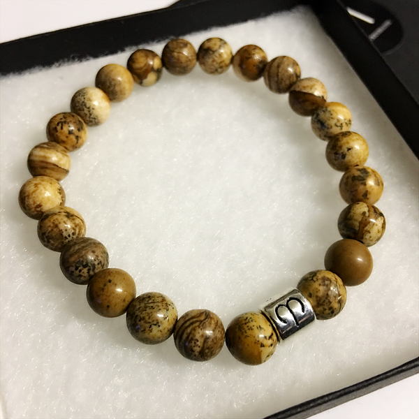 Aries Bracelet Jasper Gemstone Bead