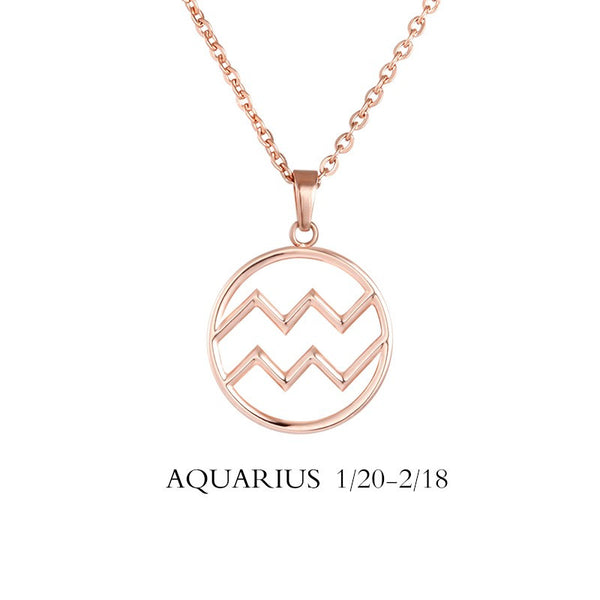 Aquarius Necklace - Aquarius Zodiac Sign/ Constellation Necklace Gold, Rose gold, Black, Steel