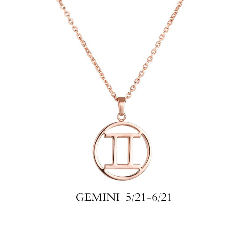 Gemini Necklace - Gemini Zodiac Sign/ Constellation Necklace Gold, Rose gold, Black, Steel