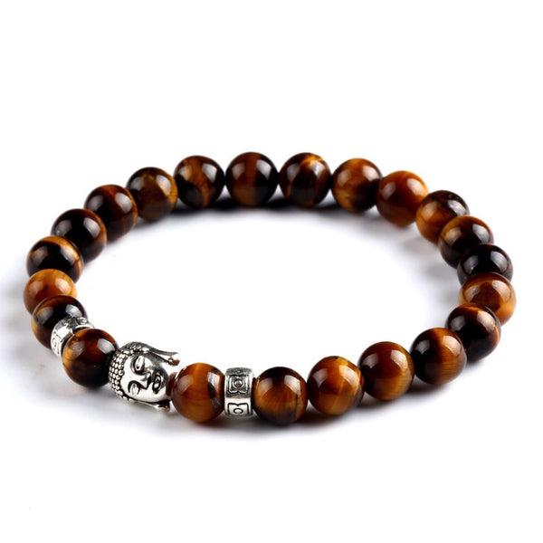 Buddha Charm Bead Bracelet (Brown Tigers Eye Natural Stone)