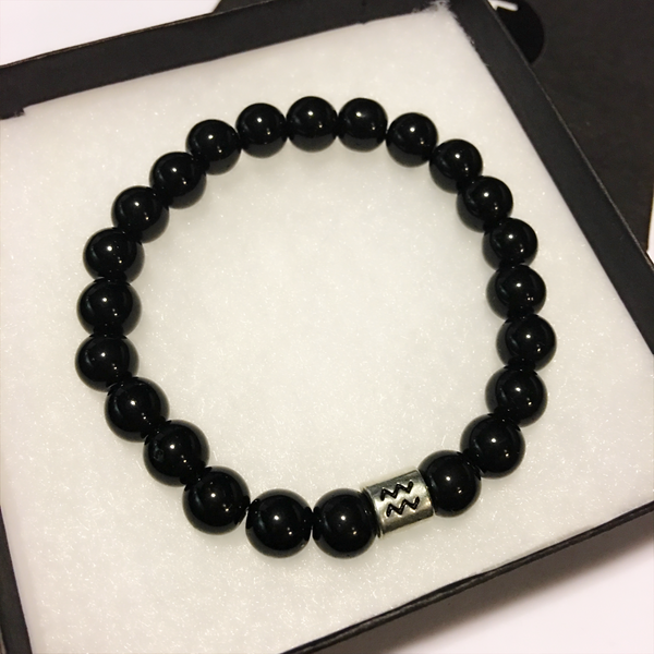 Aquarius Bracelet Black Obsidian Bead