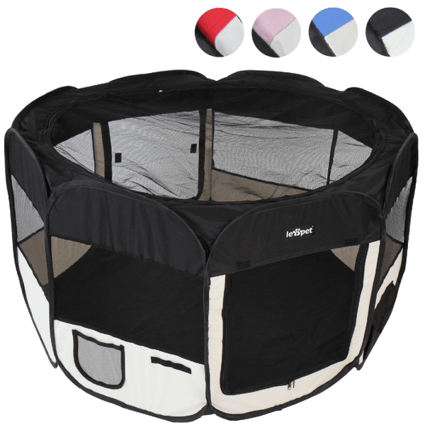Leopet® TSPB09 Playpen for Puppies and Small Animals DIFFERENT COLOURS (Black)
