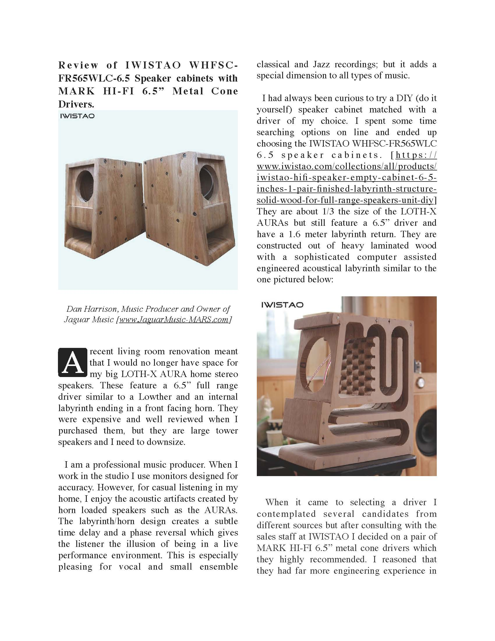 """Review of IWISTAO WHFSC- FR565WLC-6.5 Speaker cabinets with MARK HI-FI 6.5"""" Metal Cone  Drivers"""
