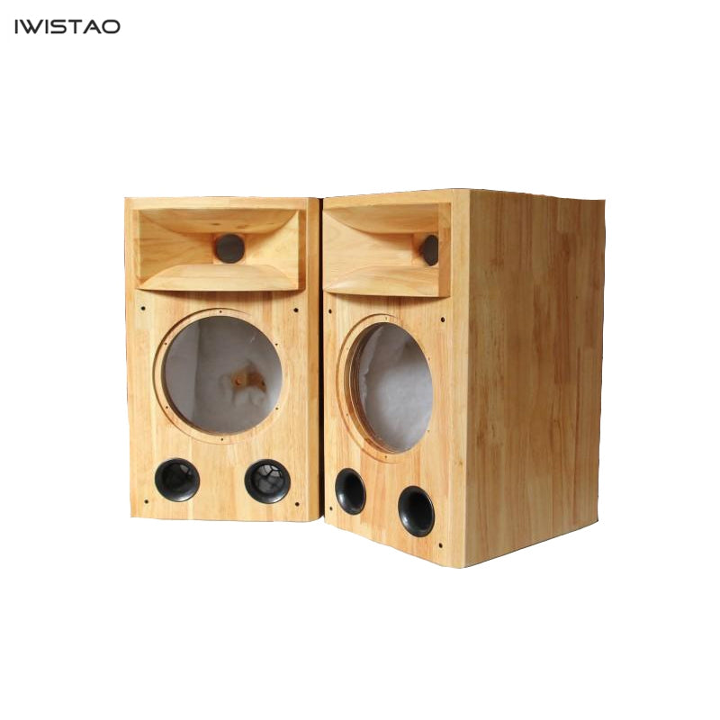 IWISTAO HIFI 8 Inches Full Range Speaker Plus 1 Inch Horn Tweeter Empty Cabinet 1 Pair Solid Wood Inverted for Tube Amp DIY