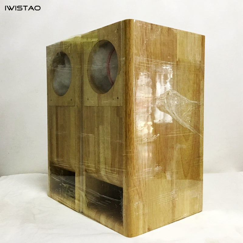 IWISTAO HIFI 4 Inches Full Range Speaker Empty Labyrinth Oak Cabinet 1 Pair for Tube Amplifier