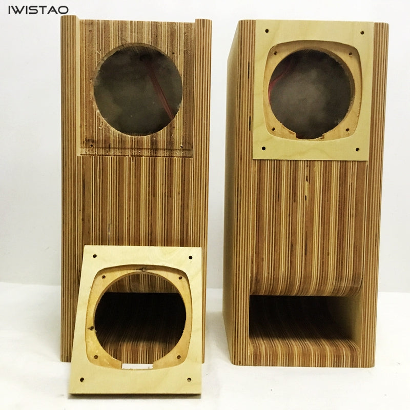 IWISTAO HIFI 4 Inches Full Range Speaker Empty Labyrinth Birch Cabinet 1 Pair for Tube Amplifier