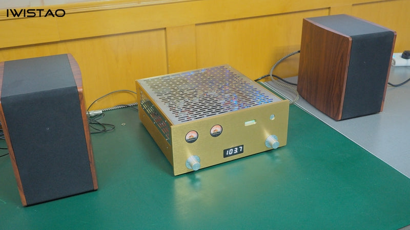 IWISTAO Tube FM Stereo Radio Power Amp 6P1 Whole Aluminum Chassis High Sensitivity 110V Gold