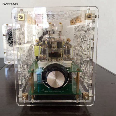 IWISTAO 2x3W Mini Single-ended Tube Amplifier 6J1 Preamp FU32 Amplified Acrylic Casing kit DIY
