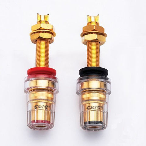 Lengthened Terminal Original CMC 858-L Speaker Terminals Amplifier Copper Gold Plated Overall Length 64mm Red and Black