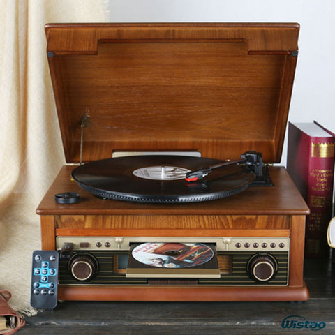 Classic Vintage Gramophone Vinyl Record Vintage CD Player Retro FM Radio Bluetooth Speaker 220V