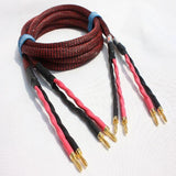 IWISTAO HIFI Speaker Cable 5MM Square Budweiser Gold-plated Copper Banana Terminals 4N OFC Cable